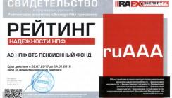 Эксперт РА подтвердил рейтинг финансовой надежности ВТБ Пенсионный фонд на уровне ruAАА